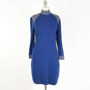 St. John Royal Blue Heavy Knit Studded Dress